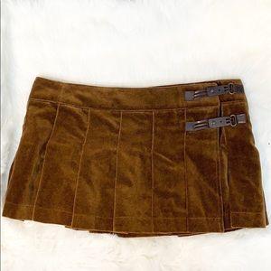 Zara Chocolate Brown Pleated Buckled Miniskirt